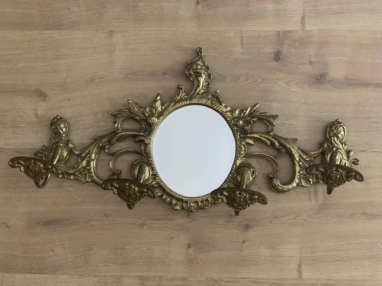 19th Century French Bronze Wall Mounted Coat Rack with Mirror For Sale 3