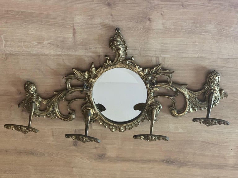 19th Century French Bronze Wall Mounted Coat Rack with Mirror For Sale 5