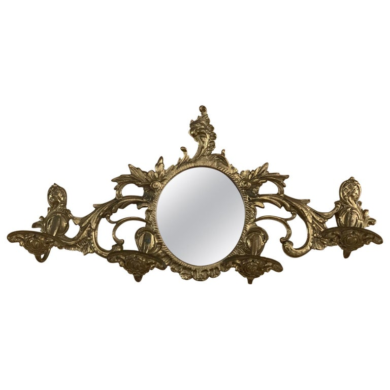 19th Century French Bronze Wall Mounted Coat Rack with Mirror For Sale
