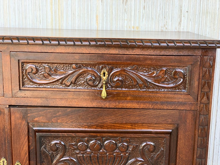 19th French Carved Walnut Sideboard, Cupboard, Buffet or Cabinet For Sale 1
