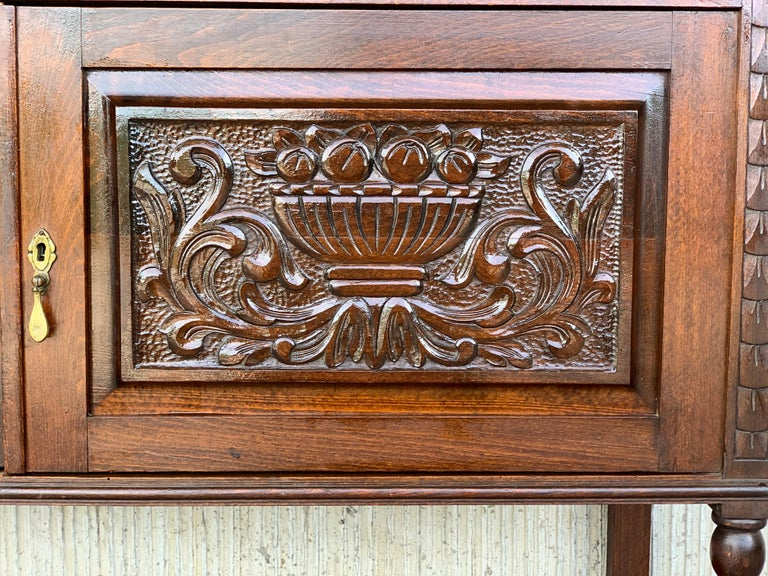 19th French Carved Walnut Sideboard, Cupboard, Buffet or Cabinet For Sale 2