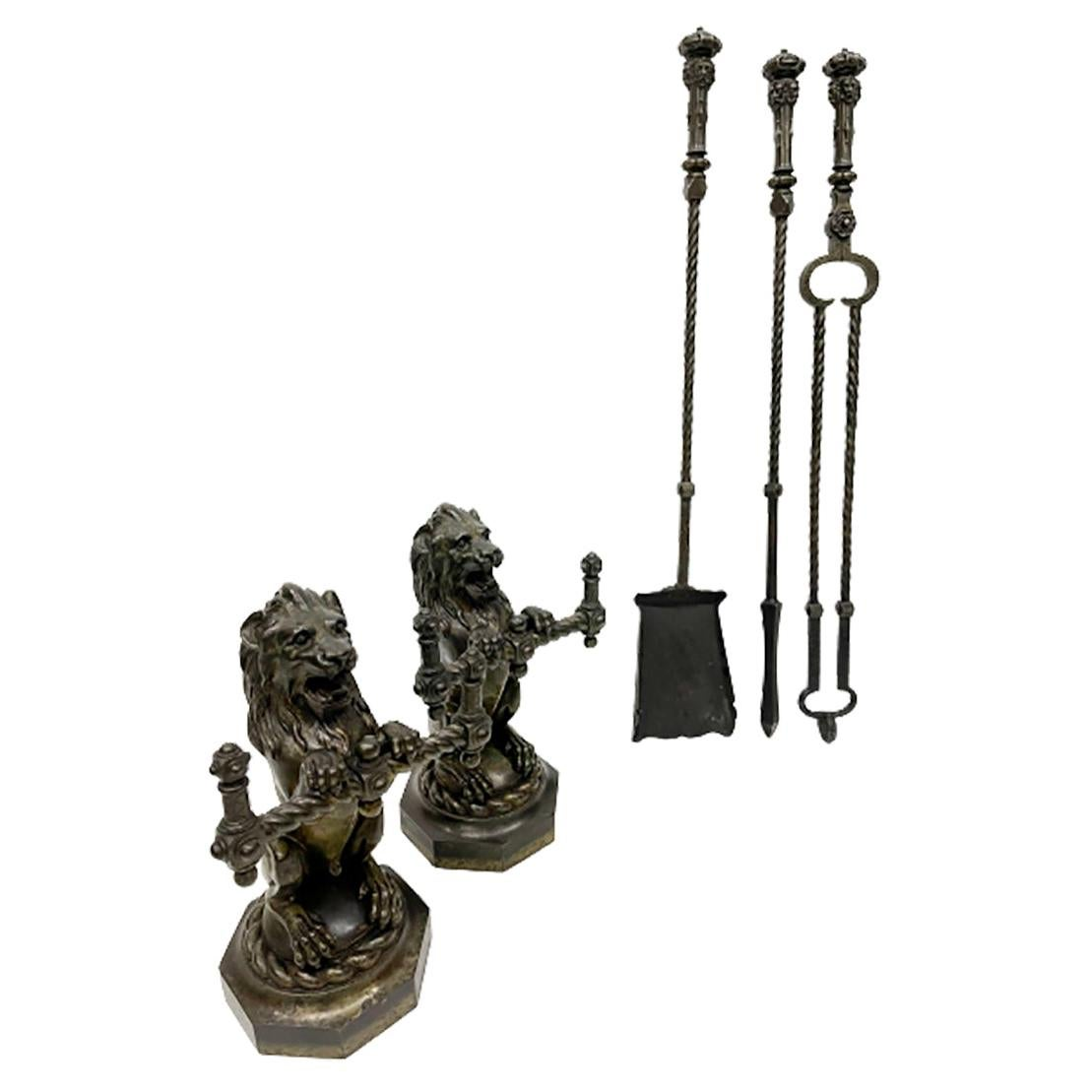 19th French Century Cast Iron Fire Dogs, Andirons with tools