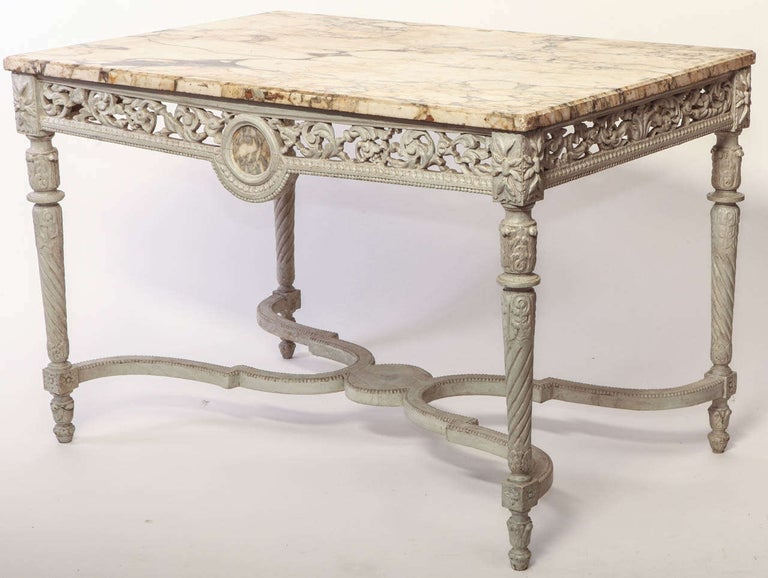 Louis XVI 19th French Century Ivory Painted Center Table with a Marble Top For Sale