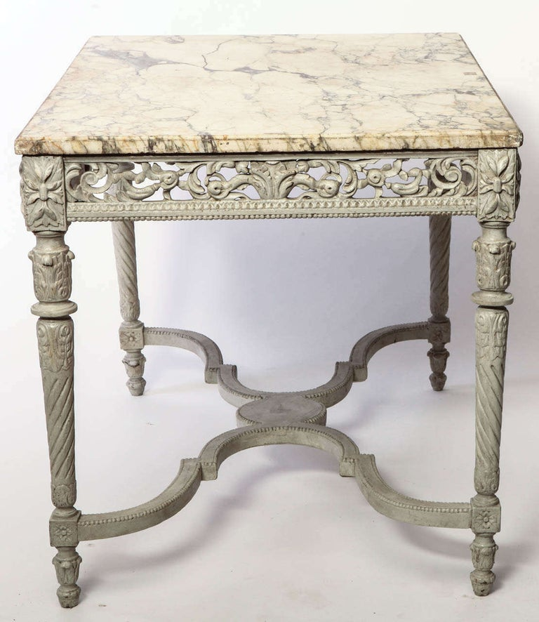 19th Century 19th French Century Ivory Painted Center Table with a Marble Top For Sale