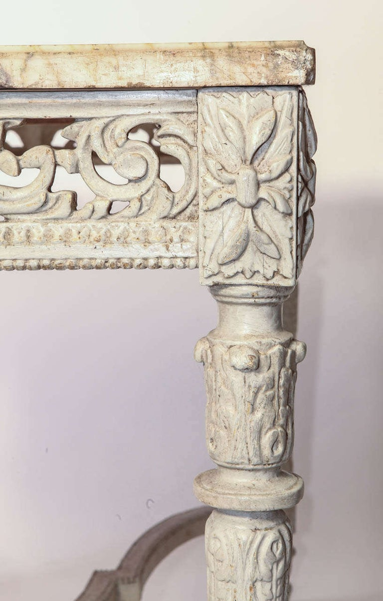 Wood 19th French Century Ivory Painted Center Table with a Marble Top For Sale