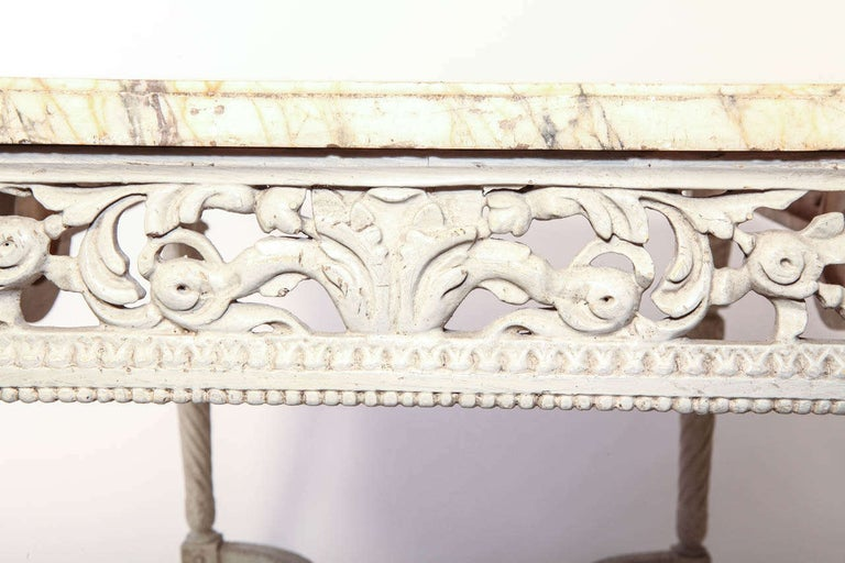 19th French Century Ivory Painted Center Table with a Marble Top For Sale 2
