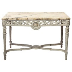 19th French Century Ivory Painted Center Table with a Marble Top