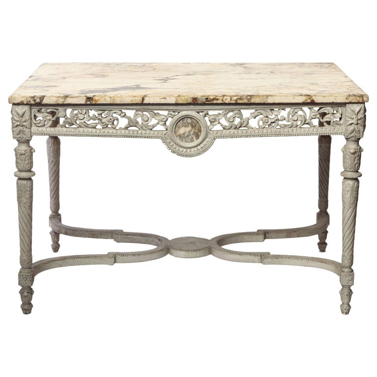 19th French Century Ivory Painted Center Table with a Marble Top For Sale