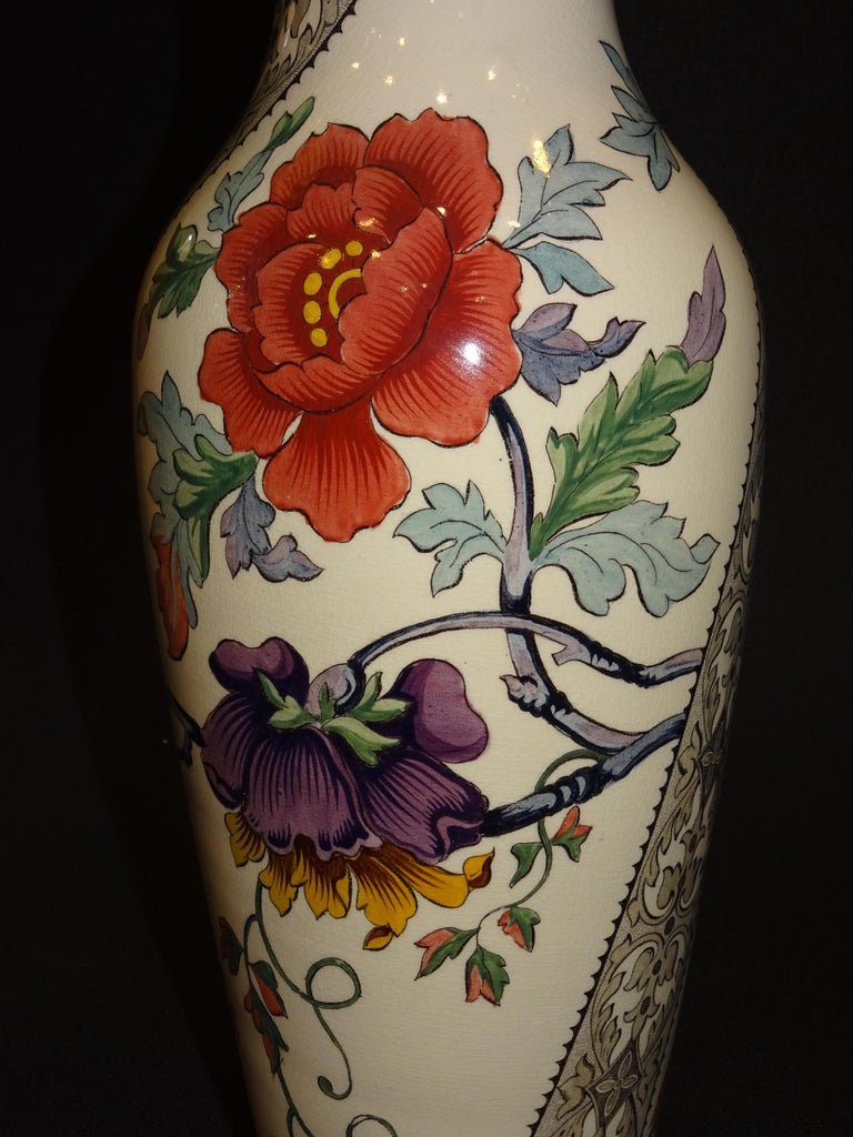 19th French Ceramice Floral Vases, Gien, Pair of Vases, Red and Purple Poppies 4