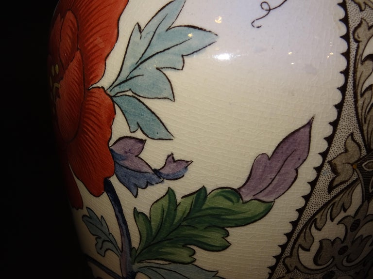 19th French Ceramice Floral Vases, Gien, Pair of Vases, Red and Purple Poppies 5