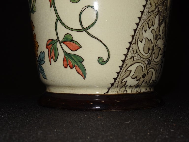 19th French Ceramice Floral Vases, Gien, Pair of Vases, Red and Purple Poppies 8