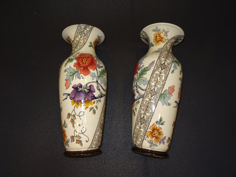 19th French Ceramice Floral Vases, Gien, Pair of Vases, Red and Purple Poppies 10