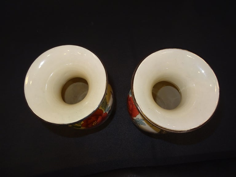 19th French Ceramice Floral Vases, Gien, Pair of Vases, Red and Purple Poppies 11