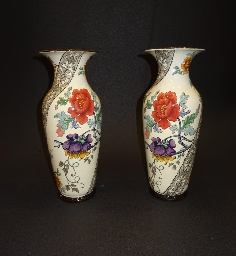 19th French Ceramice Floral Vases, Gien, Pair of Vases, Red and Purple Poppies 14