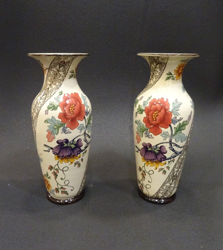Napoleon III 19th French Ceramice Floral Vases, Gien, Pair of Vases, Red and Purple Poppies