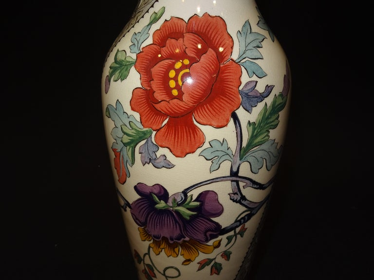 Late 19th Century 19th French Ceramice Floral Vases, Gien, Pair of Vases, Red and Purple Poppies
