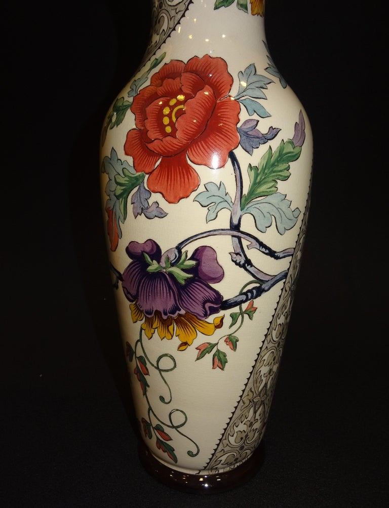 19th French Ceramice Floral Vases, Gien, Pair of Vases, Red and Purple Poppies 2