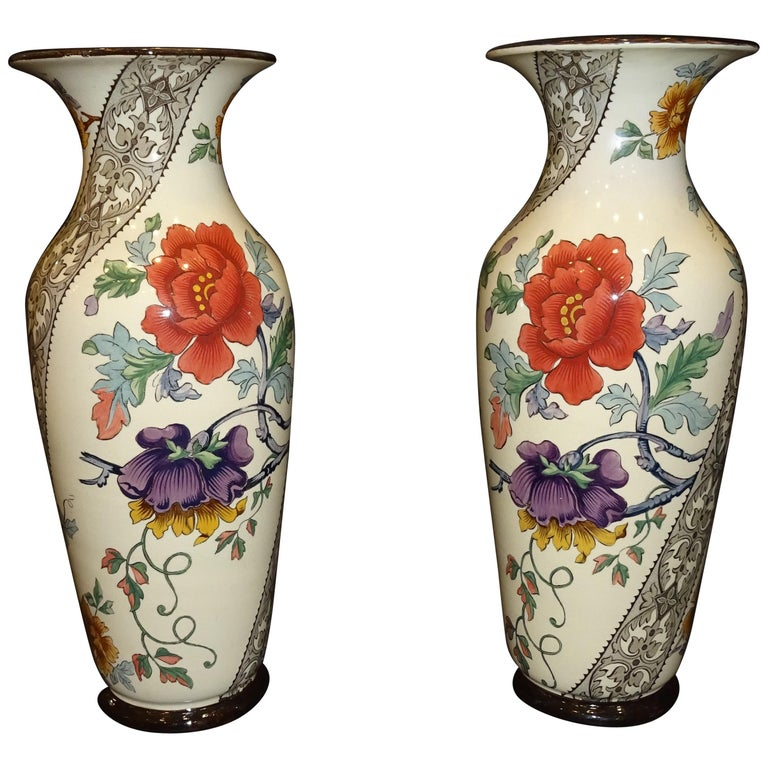19th French Ceramice Floral Vases, Gien, Pair of Vases, Red and Purple Poppies