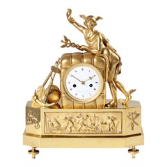 19th French Empire Mantel Clock, Pendule, Mercury, Gilded Bronze, circa 1815