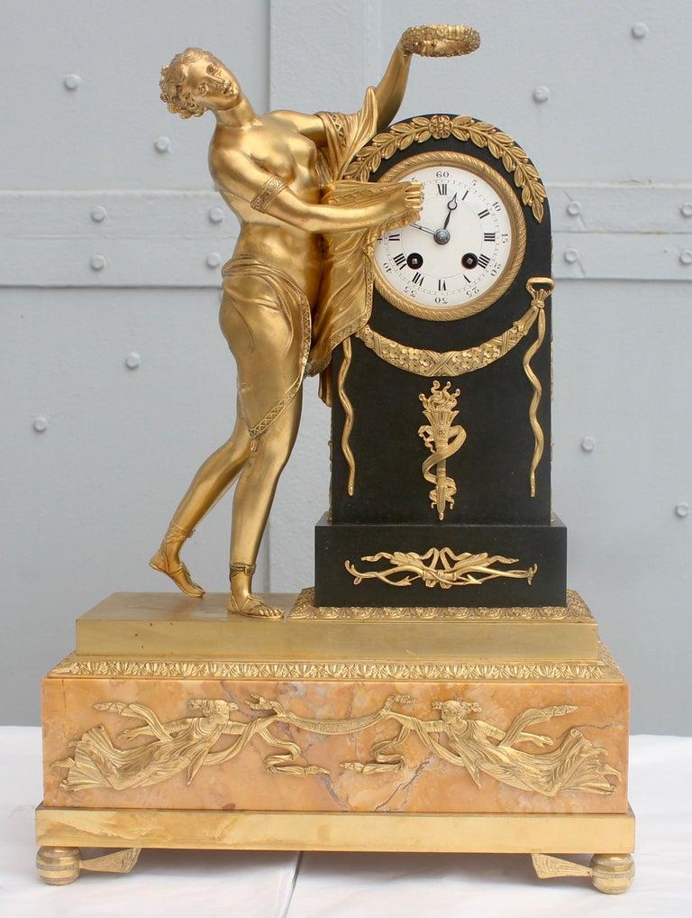 19th French Empire Ormolu and Patinated Bronze Three-Piece Clock Garniture 8