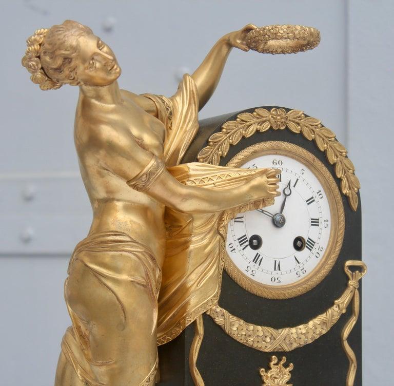 19th French Empire Ormolu and Patinated Bronze Three-Piece Clock Garniture 9