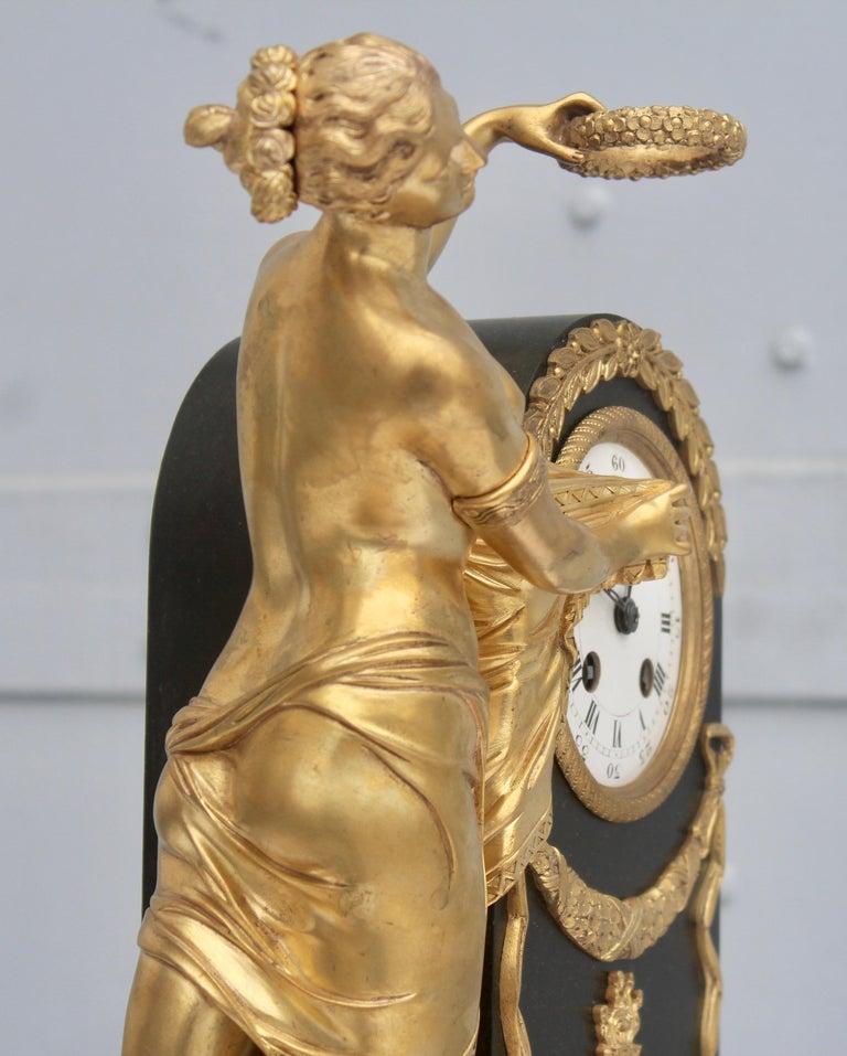 19th French Empire Ormolu and Patinated Bronze Three-Piece Clock Garniture 10