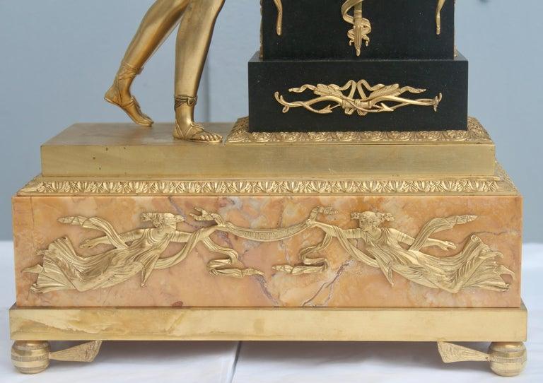 19th French Empire Ormolu and Patinated Bronze Three-Piece Clock Garniture 11