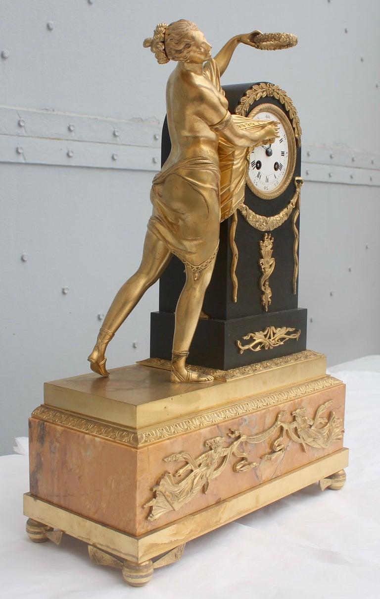 19th French Empire Ormolu and Patinated Bronze Three-Piece Clock Garniture 12