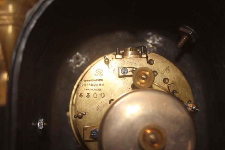 19th French Empire Ormolu and Patinated Bronze Three-Piece Clock Garniture 14