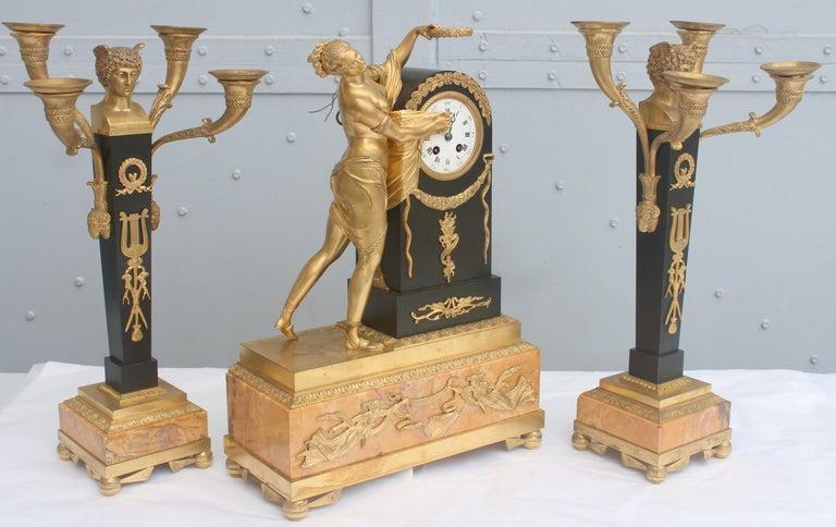 Mid-19th Century 19th French Empire Ormolu and Patinated Bronze Three-Piece Clock Garniture