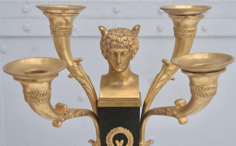 19th French Empire Ormolu and Patinated Bronze Three-Piece Clock Garniture 2