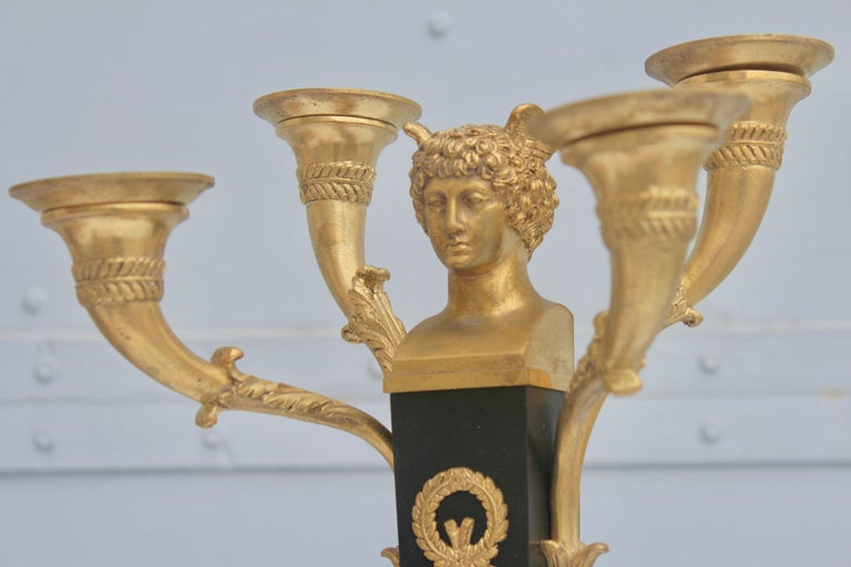 19th French Empire Ormolu and Patinated Bronze Three-Piece Clock Garniture 3