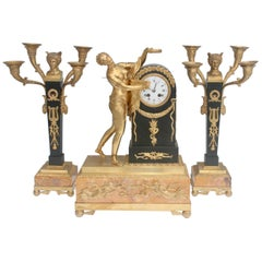 19th French Empire Ormolu and Patinated Bronze Three-Piece Clock Garniture