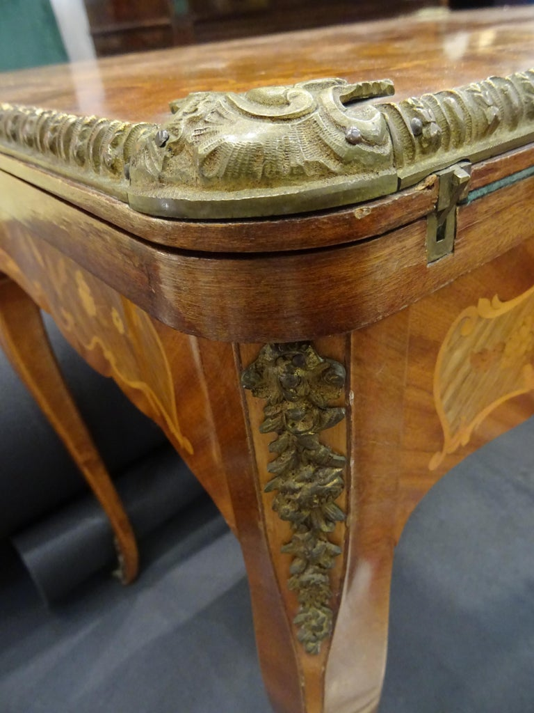 19th Century French Game Table, Napoleon III, Carved and Inlaid Wood and Bronzes For Sale 5