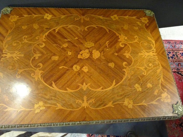 19th Century French Game Table, Napoleon III, Carved and Inlaid Wood and Bronzes For Sale 7