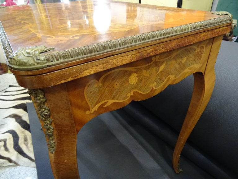 19th Century French Game Table, Napoleon III, Carved and Inlaid Wood and Bronzes For Sale 13