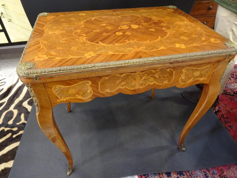Hand-Crafted 19th Century French Game Table, Napoleon III, Carved and Inlaid Wood and Bronzes For Sale