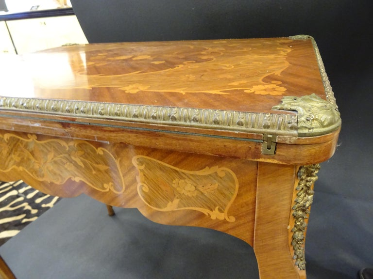 Late 19th Century 19th Century French Game Table, Napoleon III, Carved and Inlaid Wood and Bronzes For Sale