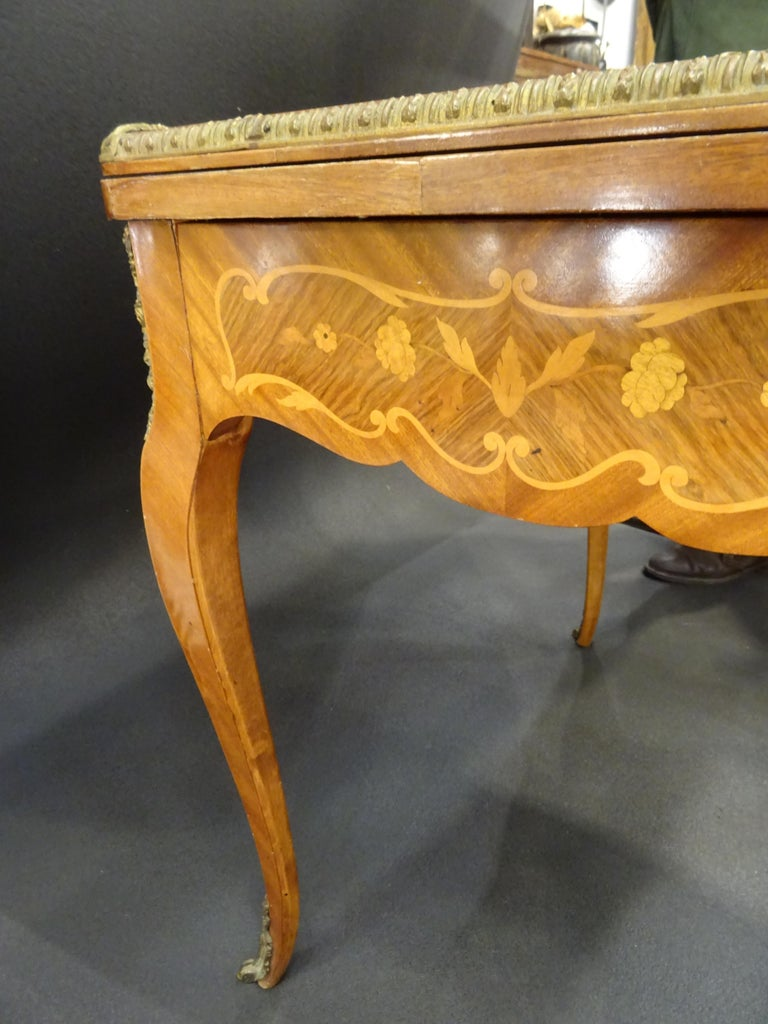 19th Century French Game Table, Napoleon III, Carved and Inlaid Wood and Bronzes For Sale 1