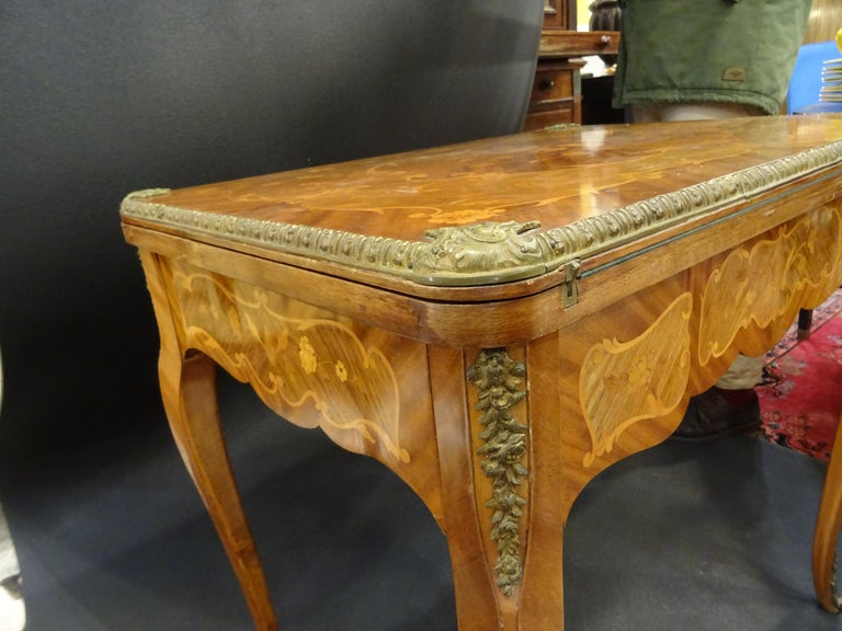 19th Century French Game Table, Napoleon III, Carved and Inlaid Wood and Bronzes For Sale 2