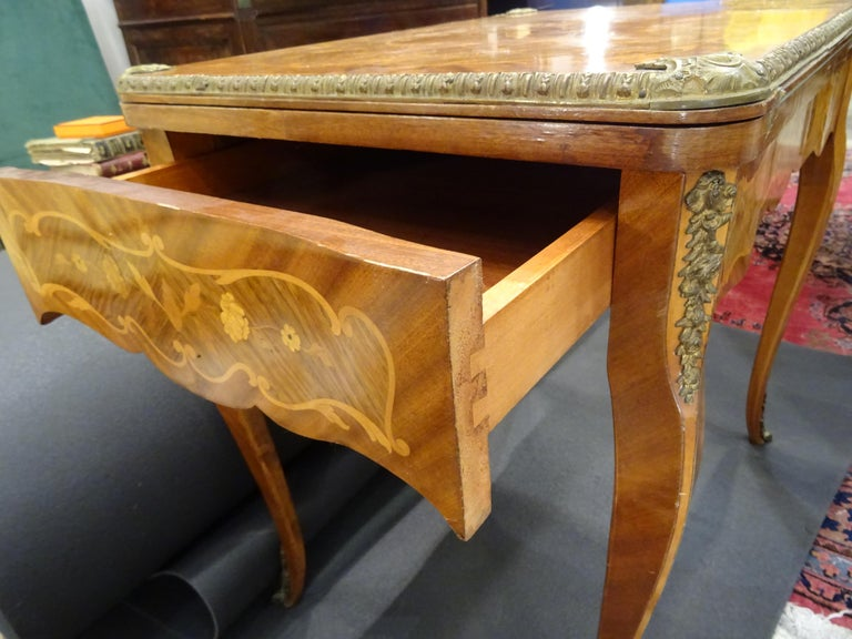 19th Century French Game Table, Napoleon III, Carved and Inlaid Wood and Bronzes For Sale 4