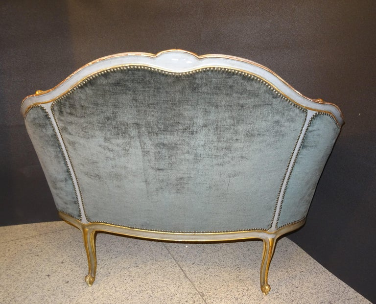 19th French Grey Corbeille Sofa Grey Velvet Grey Hand Painted Wood Napoleon III For Sale 4