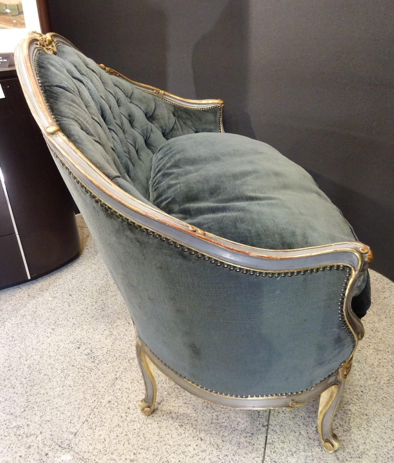 19th French Grey Corbeille Sofa Grey Velvet Grey Hand Painted Wood Napoleon III For Sale 5