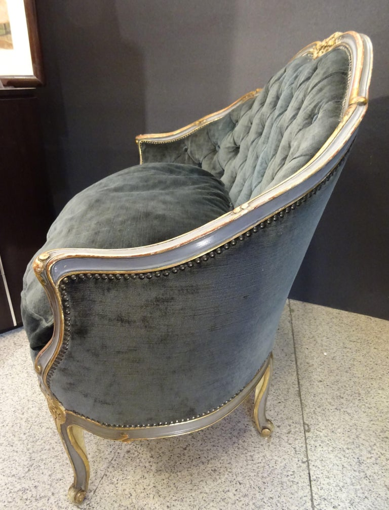 19th French Grey Corbeille Sofa Grey Velvet Grey Hand Painted Wood Napoleon III For Sale 7