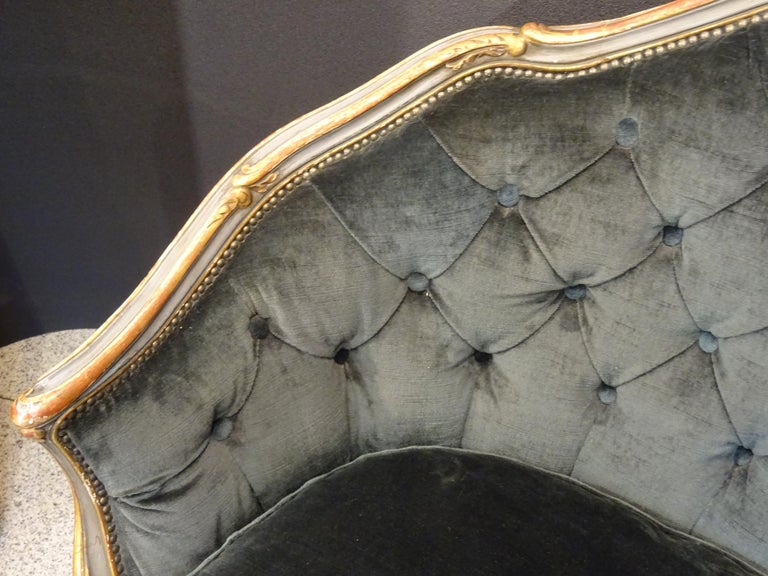19th French Grey Corbeille Sofa Grey Velvet Grey Hand Painted Wood Napoleon III For Sale 12