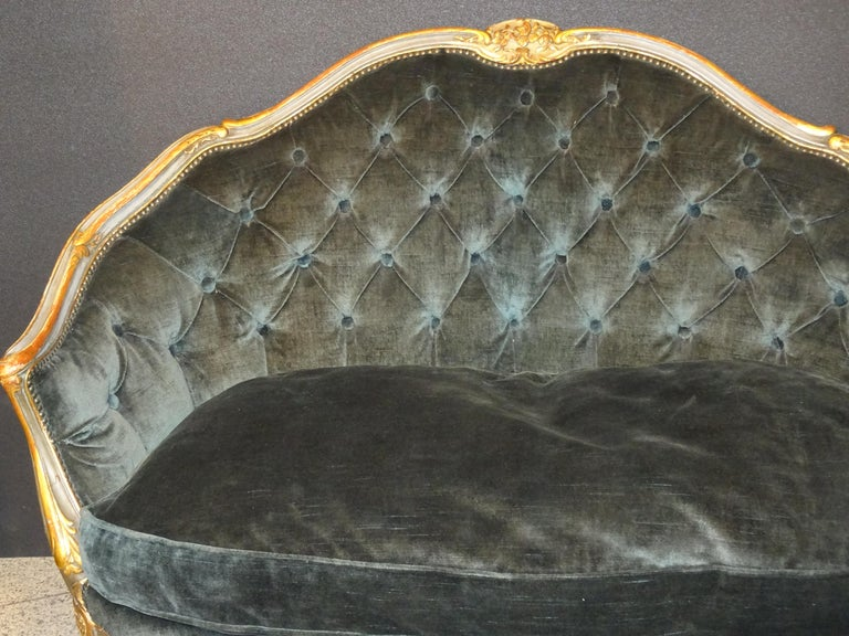 Hand-Crafted 19th French Grey Corbeille Sofa Grey Velvet Grey Hand Painted Wood Napoleon III For Sale