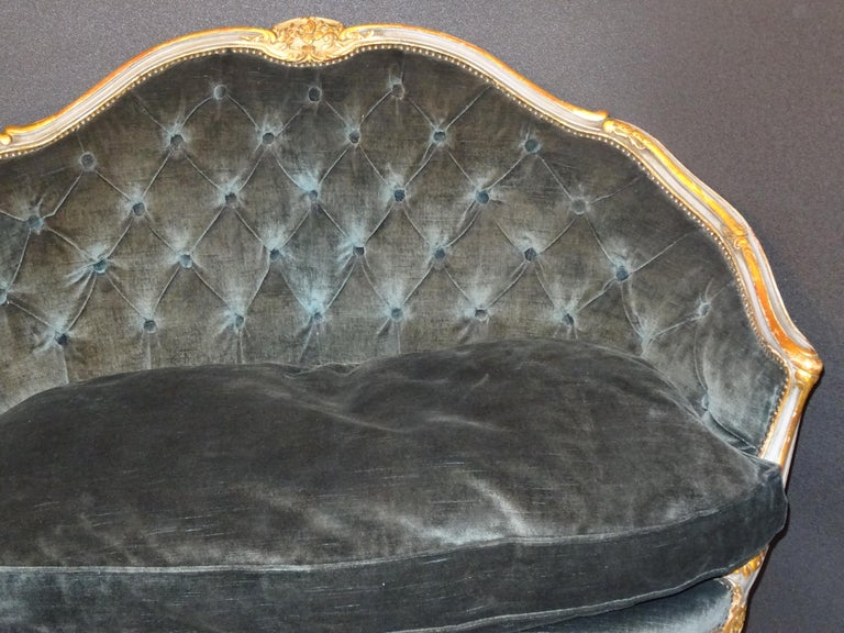 19th French Grey Corbeille Sofa Grey Velvet Grey Hand Painted Wood Napoleon III In Good Condition For Sale In Valladolid, ES