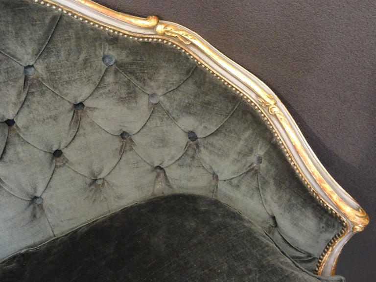 19th French Grey Corbeille Sofa Grey Velvet Grey Hand Painted Wood Napoleon III For Sale 1