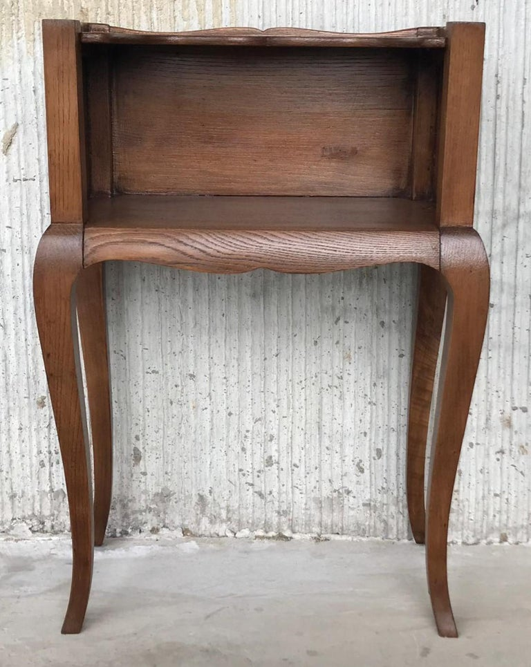 French Louis XV Style 19th Century Wooden Bedside Table with Open Shelf For Sale 1