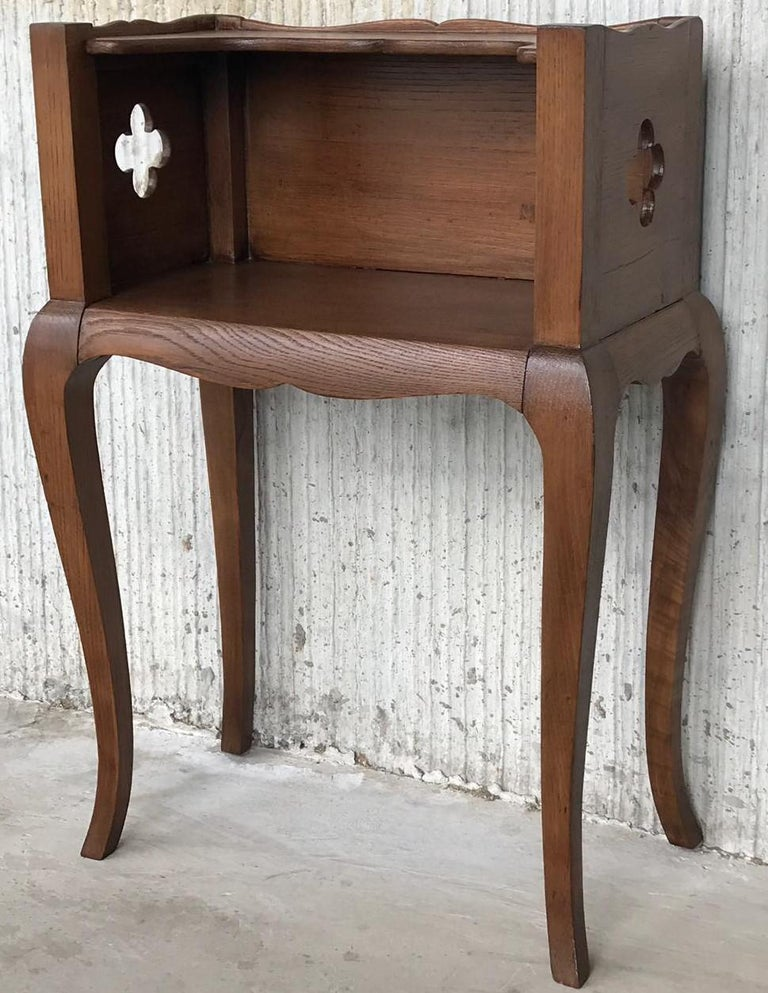 French Louis XV Style 19th Century Wooden Bedside Table with Open Shelf For Sale 2